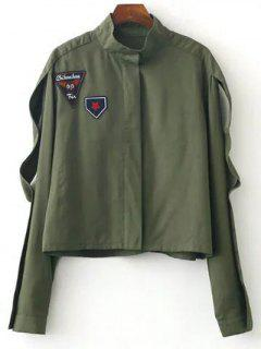 Patched Funnel Neck Jacket - Army Green S