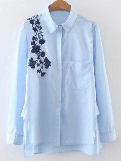 Embroidered Shoulder Poplin Shirt - Blue M