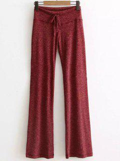 Active  Drawstring High Waisted Heather Pants - Wine Red S