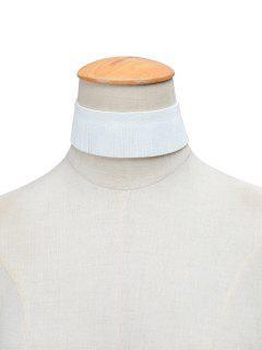 Faux Leather Velvet Tassel Adorn Choker - White