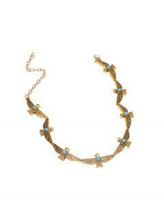 Faux Turquoise Peace Pigeon Choker - Golden