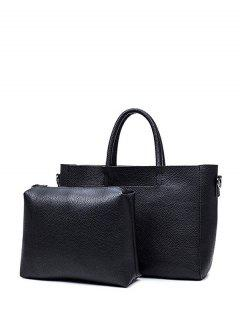 Stitching Textured PU Leather Handbag - Black