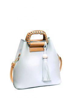 Tassel Wood Ball PU Leather Handbag - Light Gray