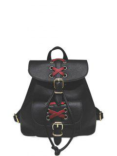 Buckles Eyelet Criss-Cross PU Leather Backpack - Black