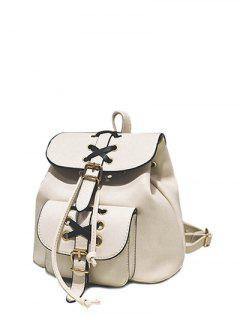 Buckles Eyelet Criss-Cross PU Leather Backpack - Off-white