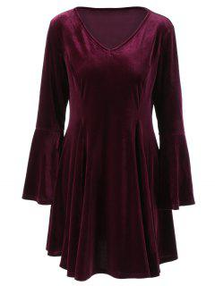 Velvet Bell Sleeves Fit And Flare Dress - Purple Red 2xl