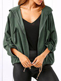 Drawstring Zippered Hooded Jacket - Army Green M