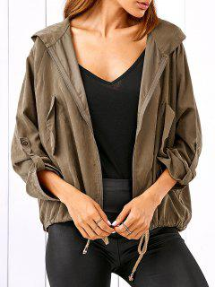 Drawstring Zippered Hooded Jacket - Khaki L