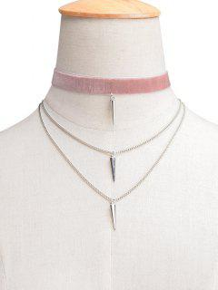 Velvet Layered Rivet Choker - Light Pink