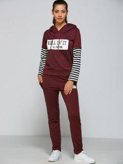 Striped Sleeve Casual Hoodie And Pants - Purplish Red M