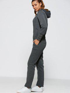 Zip Up Hoodie And Pants - Deep Gray L