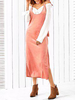 Side Furcal Slip Dress With Scarf - Pink L
