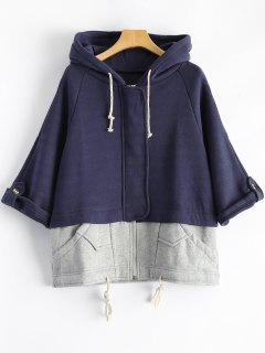 Plus Size Spliced Zip Up Hoodie - Deep Blue 5xl