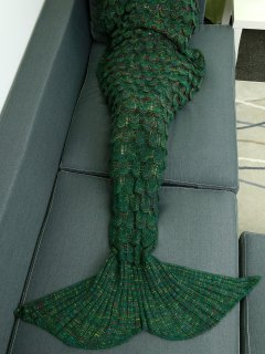 Fish Scale Knit Mermaid Throw Blanket - Green