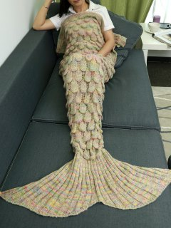 Fish Scale Knit Mermaid Throw Blanket - Beige