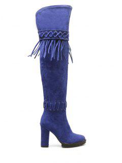 Fringe Criss-Cross Chunky Heel Thigh Boots - Blue 38