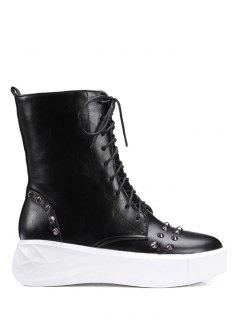 Metal Rivets Platform Tie Up Short Boots - Black 38