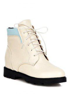Increased Internal Platform Color Spliced Ankle Boots - Off-white 38