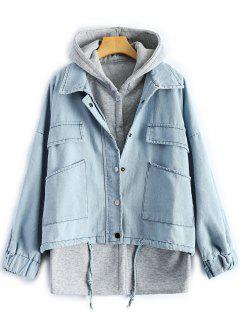 Hooded Waistcoat With Jean Jacket - Light Blue S