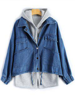Hooded Waistcoat With Jean Jacket - Deep Blue Xl