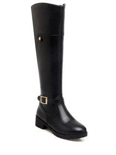 Buckle Chunky Heel Zipper Knee-High Boots - Black 37