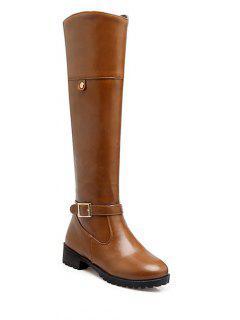 Buckle Chunky Heel Zipper Knee-High Boots - Light Brown 38