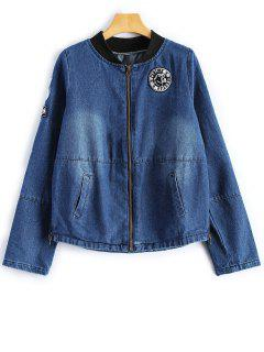 Graphic Patched Denim Jacket - Deep Blue M