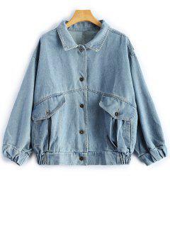 Veste En Jeans à Poches Conception Patch - Bleu Léger  S