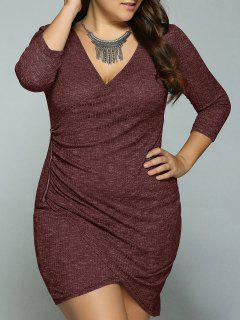 Zipper Up Plus Size Slimming Tulip Dress - Claret Xl