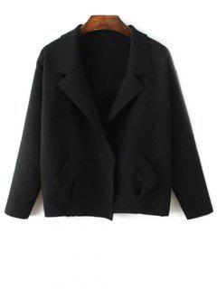 Cardigan Style Blazer Avec Col à Revers Avec Poche - Noir