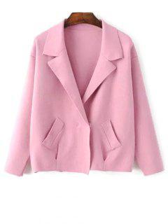 Lapel Collar Blazer Cardigan - Pink