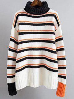 Turtle Neck Striped Sweater - White And Black