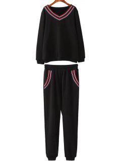Fleece Plus Size Sweatshirt With Pants - Black Xl