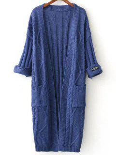 Veste En Tricote A Col Rond - Bleu