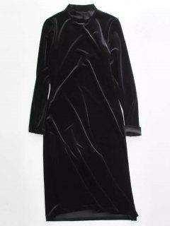 Velvet Stand Neck Long Sleeve Dress - Black