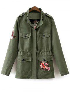 Tiger Embroidered Utility Jacket - Army Green S