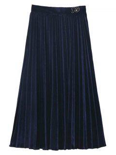 Jupe Mi-mollet Vintage Plissée En Velours  - Bleu Violet L