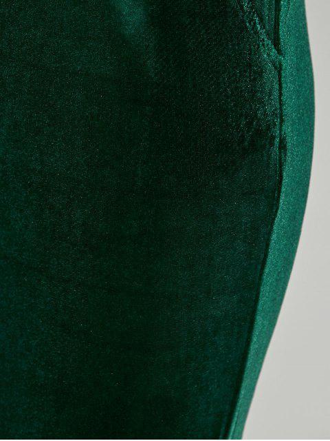 unique Pockets Velvet Boot Cut Pants - GREEN L Mobile