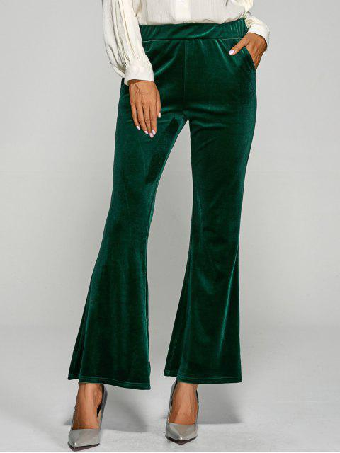 unique Pockets Velvet Boot Cut Pants - GREEN L Mobile