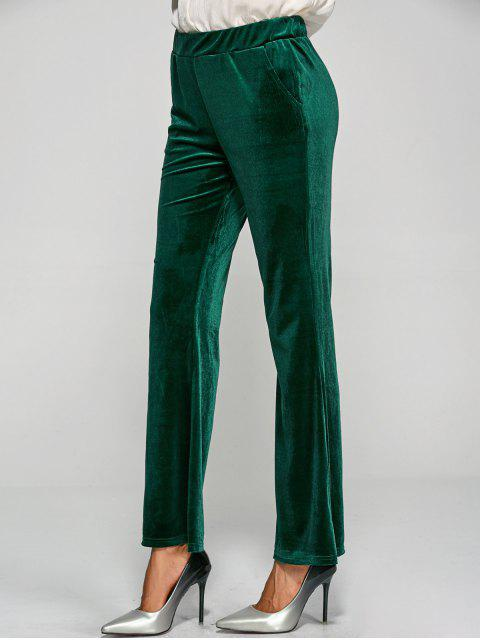 affordable Pockets Velvet Boot Cut Pants - GREEN S Mobile