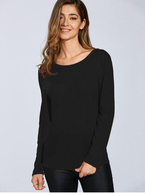 Accrocher manches Fleur Spliced ​​long T-shirt - Noir L Mobile
