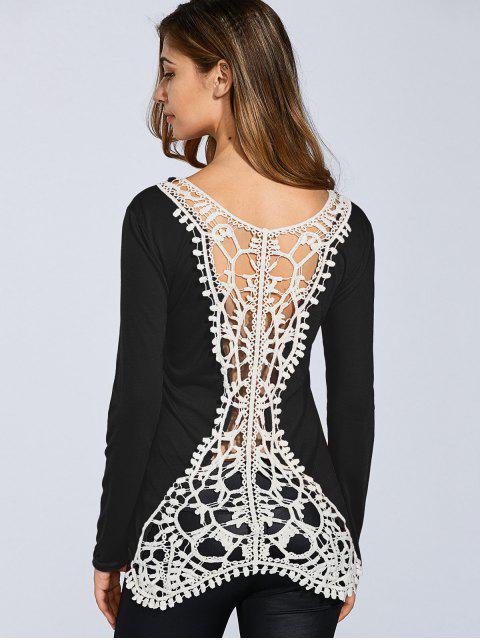 trendy Hook Flower Spliced Long Sleeve T-Shirt - BLACK S Mobile