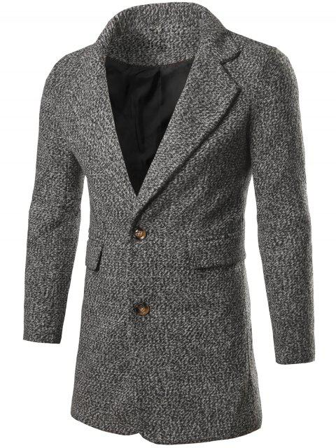 affordable Single Breasted Flap Pocket Tweed Coat - LIGHT GRAY M Mobile