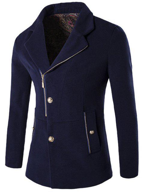 + Bouton Zip Fly col à revers en laine mélangée Manteau - Bleu Violet 2XL Mobile