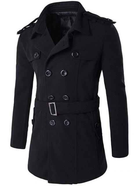 women's Double Breasted Epaulet Design Trench Coat - BLACK 2XL Mobile