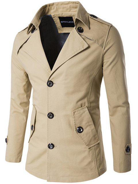outfits Single Breasted Epaulet Design Wind Coat - KHAKI 2XL Mobile