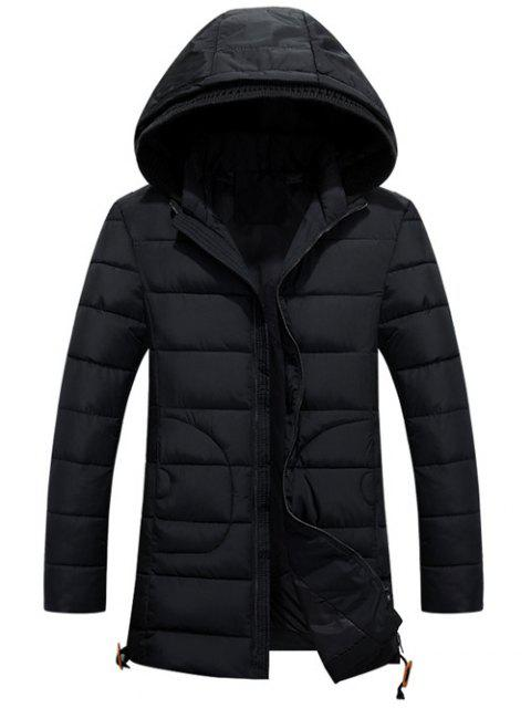 ladies Hooded Drawstring Back Slit Zip-Up Padded Coat - BLACK 2XL Mobile