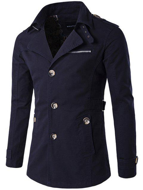 hot Single Breasted Zipper Pocket Epaulet Coat - PURPLISH BLUE 2XL Mobile