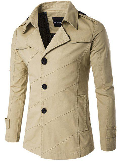 unique Single Breasted Line Pattern Epaulet Trench Coat - KHAKI 2XL Mobile