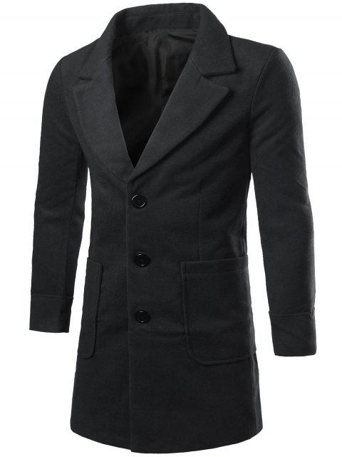 chic Lapel Collar Big Pocket Wool Blend Coat - BLACK XL Mobile